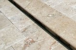 Travertine treads and coping at Hopkinton Stone & Garden. Hopkinton, MA